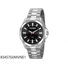 Relógio Masculino Prata Mondaine Fundo Preto Lançamento