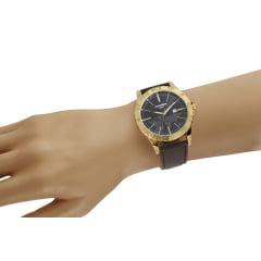 Relógio Masculino Pulseira de Couro Mondaine Cx Dourada