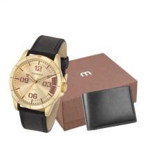 Relógio Mondaine Masculino Dourado + Carteira 76702GPMVDH2K2