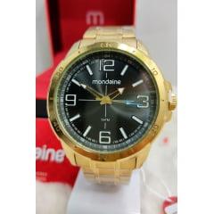 Relógio Mondaine Masculino Dourado Lançamento Fundo Cinza