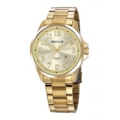 Relógio Seculus Dourado Todo em Aço
