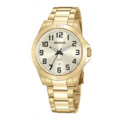 Relógio Seculus Dourado Todo em Aço com Números
