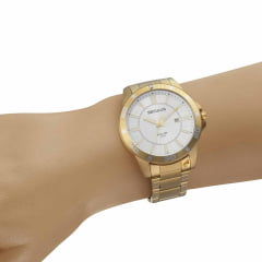 Relógio Seculus Dourado Todo em Aço Lançamento