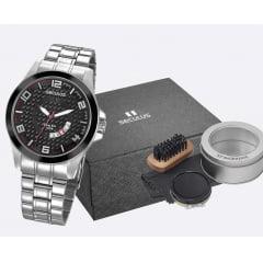 Relógio Seculus em aço inoxidável Seculus + kit engraxate 28999G0SVNA1K1
