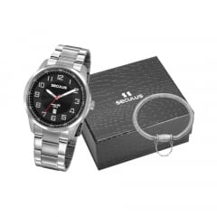 Relógio Seculus Masculino Prata + Pulseira