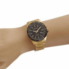 Relógio Seculus Todo em Aço Dourado Bisel Preto
