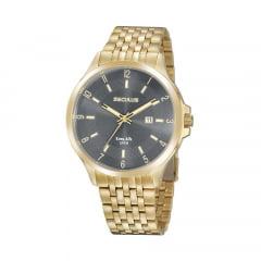 Relógio Seculus Todo em Aço Dourado Fundo Cinza