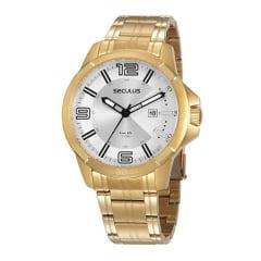 Relógio Seculus Todo em Aço Dourado - Lançamento