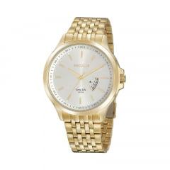 Relógio Seculus Todo em Aço Dourado Social