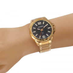 Relógio Visor Texturizado Preto Casual Dourado
