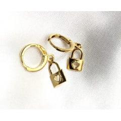 Argola Cadeado Banhado a Ouro BR0001L - 05 ANOS DE GARANTIA