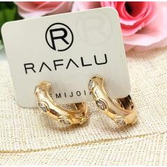 Argola média banhada a ouro Rafalu com microzirconia - BR0002T1 - 05 ANOS DE GARANTIA