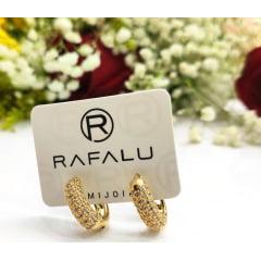Argola Banhado a Ouro Rafalu com microzircônia BR0012O1 - 05 ANOS DE GARANTIA