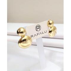Brinco 2 em 1 Banhando a Ouro Rafalu - BR0008H1  - 05 ANOS DE GARANTIA
