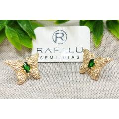 Brinco Borboleta Banhado a Ouro Rafalu BR0006L