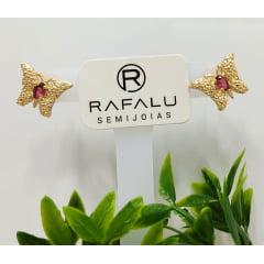Brinco Borboleta Banhado a Ouro Rafalu BR0007L