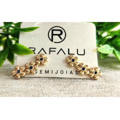Brinco Flor Azul Banhado a Ouro Rafalu - BR0016T - 05 ANOS DE GARANTIA