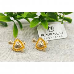 Brinco Tartaruga Amarela Banhado a Ouro Rafalu - BR0003B1 - 05 ANOS DE GARANTIA