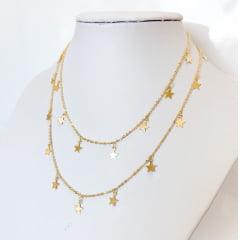Colar Estrelas Banhado a Ouro Rafalu - COL0001K