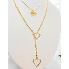 Gargantilha Coração Dupla Banhado a Ouro Rafalu - COL0001Z