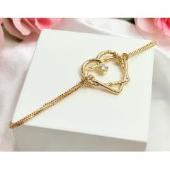 Pulseira Coração (16 cm + extensor) Banhada a Ouro Rafalu  - 05 ANOS DE GARANTIA - PUL0010O
