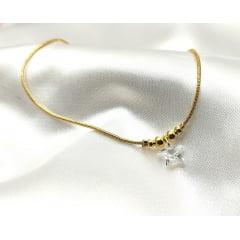 Tornozeleira Banhada a Ouro Rafalu (tam.21 cm + EXTENSOR ) - 5 ANOS DE GARANTIA - TZ0002M